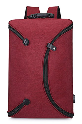 Mochila Para Computadora De Los Hombres 360 Grados Bolso De Hombro Abierto Completo Oxford Paño Impermeable Material De La Computadora Bolsa Rojo