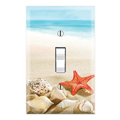 Graphics Wallplates - Sea Shells Starfish Beach Sand- Single Toggle Wall Plate Cover