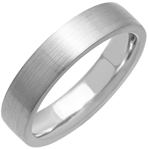 (Platinum Traditional Top Flat Men's Comfort Fit Wedding Band (5mm) Size-10.5c1)