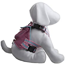 Pet Life Reflective Dual Ringed Pet Dog Fashion Mesh Harness with built-in Velcro Back Pouch Backpack, Pink, Medium