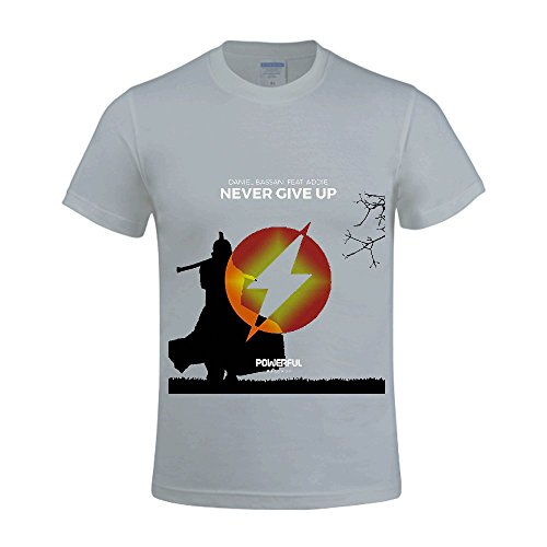 Never Give Up Daniel Bassani Men Tee Crew Neck Digital Printed Grey