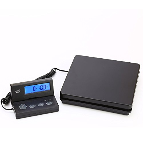 Smart Weigh ACE150 Digitale Postversandwaage mit ausziehbarem Kabel und einer hellen blau beleuchteten Anzeige, Batterien und USB-Kabel mit eingeschlossen