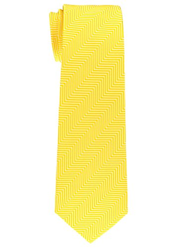 Retreez Herringbone Stripe Woven Microfiber Boy's Tie (8-10 years) - Yellow by Retreez