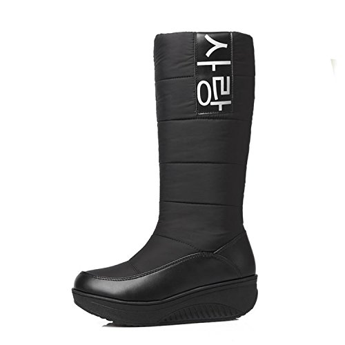 Calf Boots Wedges Snow on Black Winter Shoes Size Ladies Boots 35 Heels Sweet Women Inside 44 mid Better Fur Slip Annie Boots qvXTnYw0wA