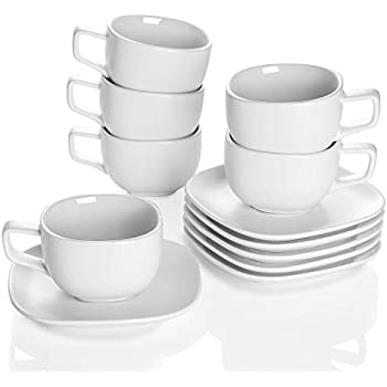 Teocera Porcelain Cappuccino Cups with Saucers - 8 Ounce for Specialty Coffee Drinks, Cappuccino and Tea - Set of 6, Matte White