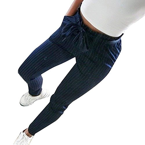 Inclusa Solidi Pants Donna Fashion Waist Pantaloni Elegante A Matita Libero Tempo Estivi High Cintura Lunghe Haidean Colori Slim Glamorous Fit Semplice Blau zpwRz