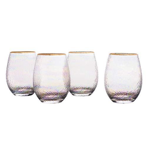 Elle Décor 229854-4ST Celine Set of 4 Lead-free Stemless Wine Goblets Glasses, 3.7x4.9