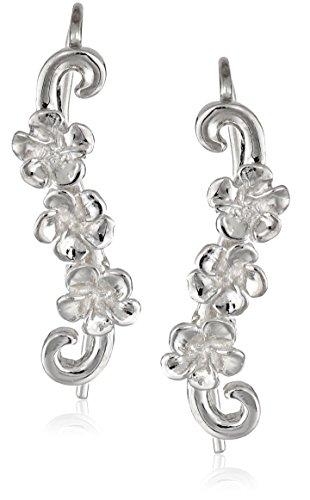 (The Ear Pin Sterling Silver Hawaii's Plumeria Flower Earrings)