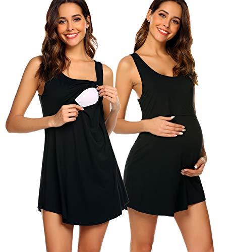 (Avidlove Women's Maternity Nursing Cami Dress/Pregnancy Gown/Sleeveless Nightshirt S-XXL Black )
