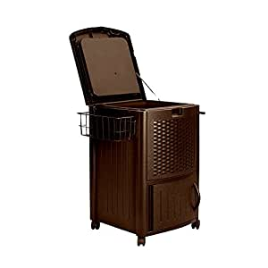 Rattan Cooler Resin Big Lift Top Lid Bottom Door Ample Spacious Outdoor Patio Lawn Barbecue Garden Backyard Kitchen Brown Rolling Wheels Portable Practical & eBook by Easy&FunDeals