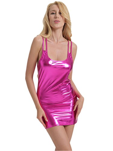 Leather Fancy Dress (Holly Gibbons Solid Color Wet Look PVC Leather Fancy Mini Dress, Rosy, One Size)