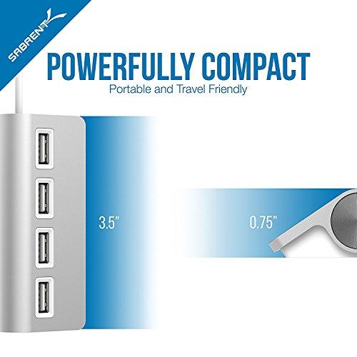 "Sabrent Premium 4 Port Aluminum USB 2.0 Hub (9.5"" cable) for iMac, MacBook, MacBook Pro, MacBook Air, Mac Mini, or any PC (HB-UMAC)"