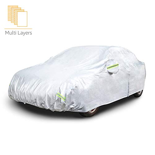 """AmazonBasics Silver Weatherproof Car Cover - PEVA with Cotton, Sedans up to 225"""""""