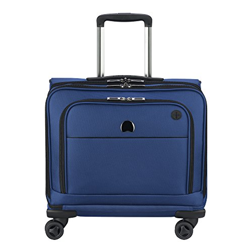 Delsey Briefcase - DELSEY Paris 4 Wheel Spinner Mobile Laptop Briefcase, Blue, One Size