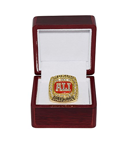 Vintage Boxing Memorabilia - MUHAMMAD ALI (The Greatest Ever) 4X WORLD BOXING CHAMPION (TKO Liston, Foreman, Spinks) Vintage Rare & Collectible High-Quality Replica Gold Boxing Championship Ring with Cherrywood Display Box