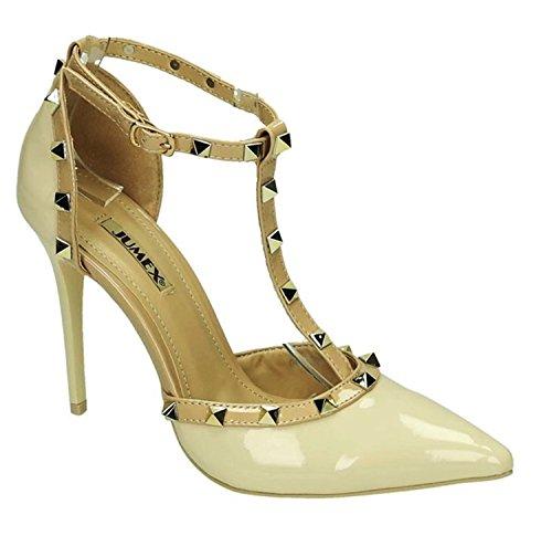 3933a80e7eee King Of Shoes Elegante Damen Riemchen Abend Sandaletten High Heels Pumps  Lack Stilettos Schuhe GH Beige