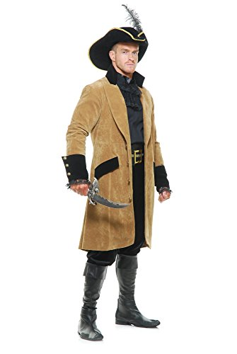 Charades Men's Elegant Pirate Coat, tan/Black, Medium