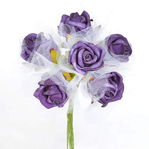 Mikash Styrofoam Roses Artificial Bouquets Wedding Flowers Decoration Wholesale Sale | Model WDDNGDCRTN - 13952 | 24 Pieces