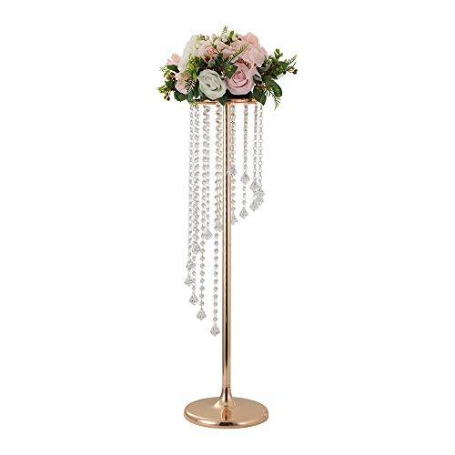 (LANLONG 27.5'Tall Wedding Table Centerpiece, Candle Holder, Candlestick, Road Lead Flower Stand, Wedding Home Christmas Decoration Christmas Decor Decorations for Living Room (Gold, 35.4'))
