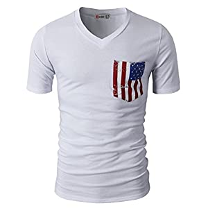 H2H Mens Casual V-Neck Short Sleeve Sport T-Shirts With American Flag Chest Pocket White US L/Asia XL (CMTTS0173)