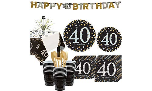 Party City Sparkling Celebration 40th Birthday Party Kit for 32 Guests, 268 Pieces, Includes Tableware and Decorations