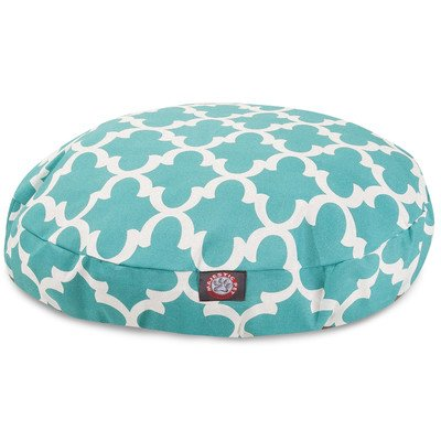 Teal Trellis Large Round Indoor Outdoor Pet Dog Bed With Removable Washable Cover By Majestic Pet Products