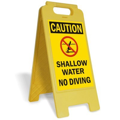 Caution - Shallow Water, No Diving (with Head Injury No Diving, Plastic Folding Sign, 12