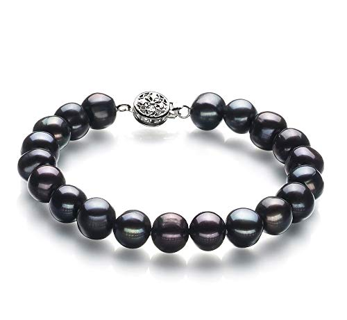 Kaitlyn Black 8-9mm A Quality Freshwater Cultured Pearl Bracelet for Women-7.5 in Length