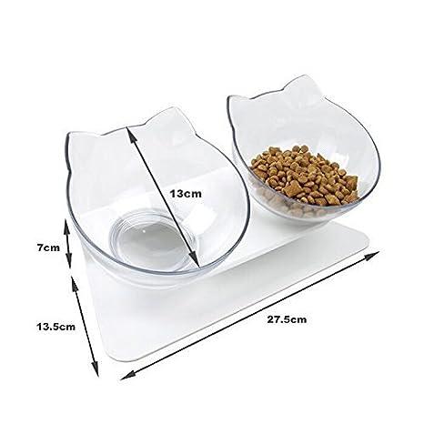 DamnCat Cuenco doble para comida con soporte elevado para mascotas, ideal para gatos y perros pequeños: Amazon.es: Productos para mascotas