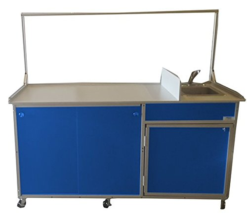 Monsam FCS-001 Food Service Cart with Portable Self Contained Sink, Blue