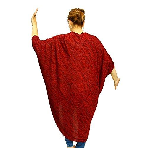 Señoras longitud larga de la rebeca de gran tamaño Red