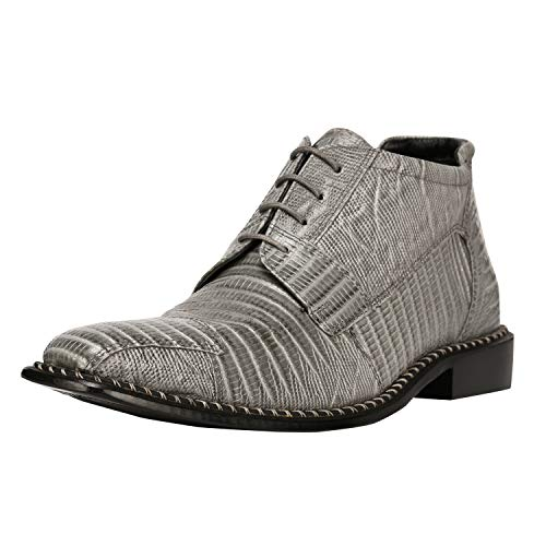 Liberty Men's Leather Ankle High Top Lizard Print Lace Up Dress Shoes (14 D(M) US, Grey)