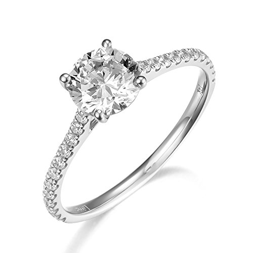 Lamrowfay 1Ct Halo Solitaire Cubic Zirconia Promise Engagement Ring in 14K Rose Gold or White Gold or Yellow Gold, 1.70cttw (white-gold, 4) (Four White Gold)