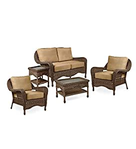 Prospect Hill Wicker Deep Seating Love Seat Set with Cushions - Beach House Walnut Wicker With Sand Cushions