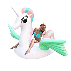 Geekper Unicorn Party Tube Inflatable Float, Pool Party Toys Giant Pool Floats for Adults Kids, Outdoor Vacation Beach Loungers Lake Ride-ons River Raft, 94.5 x 59.1 x 86.6 inches