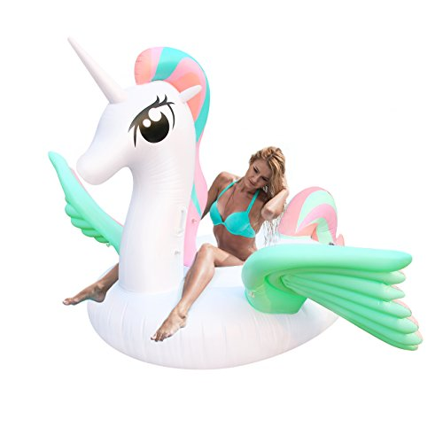 Geekper Giant Inflatable Unicorn Pool Float, 94.5 X 86.6 X 49.2 in Floats for Adults Kids Outdoor Vacation Beach Loungers Lake Ride-ons River Raft