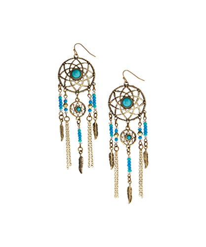 Dreamcatcher Feather Earrings (Lux Accessories Burnished Goldtone & Turquoise Dream Catcher Drop Earrings)