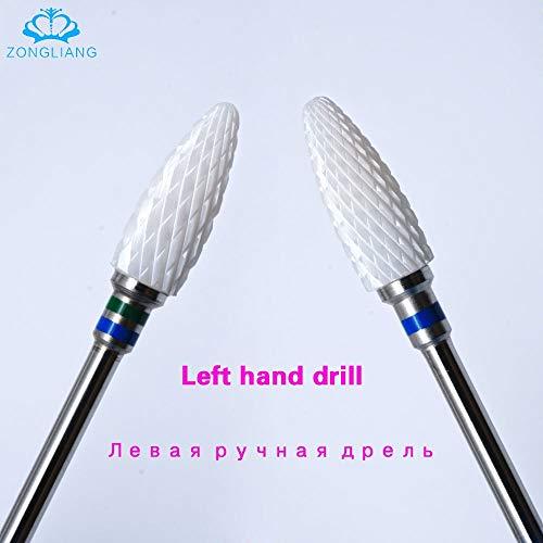 Left hand use electric nail drill manicure pedicure Apparatus for manicure Gel polish ceramic nail drill Left hand nail bit - (Color: 1PCS M) ()