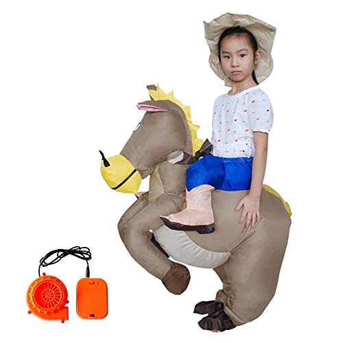 Ztl Inflatable Horse Rider Costume Blow up Cowboy Costume Halloween Costumes for Adults Kids -