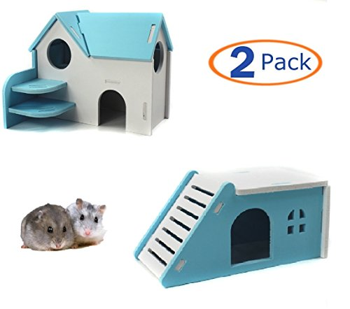 Rodent House (Hamiledyi Wooden Hamster House,Hideout Hut Exercise Natural Funny Nest Toy(Pack of 2) (blue))