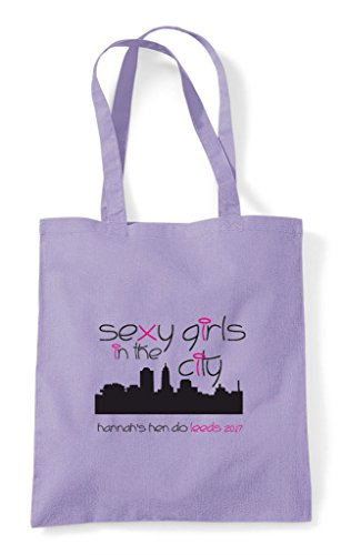 Hen Do Fuschia Tote City Customised Party Bag Shopper Personalised The Sexy Parody Girls In BZHBwrxq
