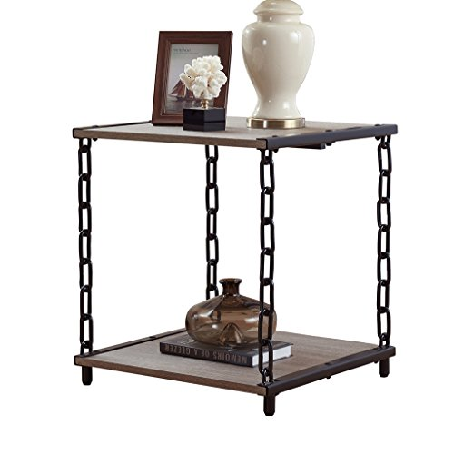 O&K Furniture Square End Table with Chain Metal Frame - Rustic Industrial Style (Oak)