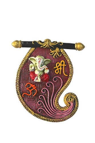 A colored statue of Lord Ganesh Ganpati OM Shree Wall Hanging Elephant Hindu God made from Marble powder in (Marble God Statue)