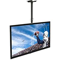Mount-It! Ceiling TV Mount For 32 37 40 42 43 50 55 60 65 70 Inch Flat Panel Televisions, Articulating Hanging Swivel TV Pole Bracket Adjustable Height 175 Pound Capacity, Black