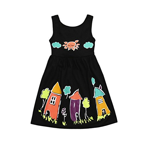 3107f9797221 Winsummer Baby Girls Summer Dress Kids Girl Floral Houses Sun Cartoon Print  Sleeveless Party Princess Dresses