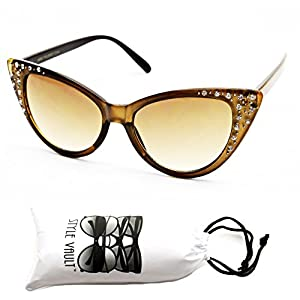 Wm528-vp Style Vault Cateye Pearl/rhinestone Sunglasses (KZH Crystal Brown, uv400)