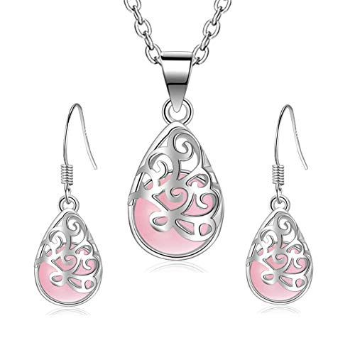 I'S ISAACSONG 925 Sterling Silver Healing Green Moonstone Crystal Charm Love Heart Pendant Necklace and Earring Jewelry Set for Women (Pink Teardrop Charm Jewelry Set)