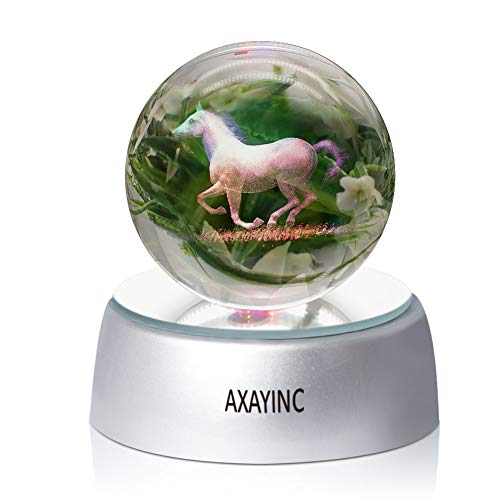 AXAYINC Horse 3D Crystal Ball Fancy LED Lighting with Base, Advanced Laser Engraving, Ideal Present for Kids, Friends, Perfect for Home, Offices, Bars Decor etc. - 50mm by AXAYINC