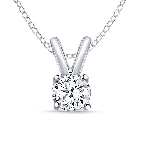 Diamond Pendant Necklace (1/4 ct Round Diamond Pendant Necklace 14k White Gold (0.25cttw, IJ ,I2-I3) 18