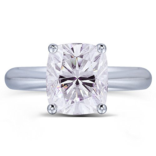 TransGems Platinum Plated Silver,2ct GH Color Cushion Moissanite Engagement Solitaire Rings for Women (6.5) by Transgems